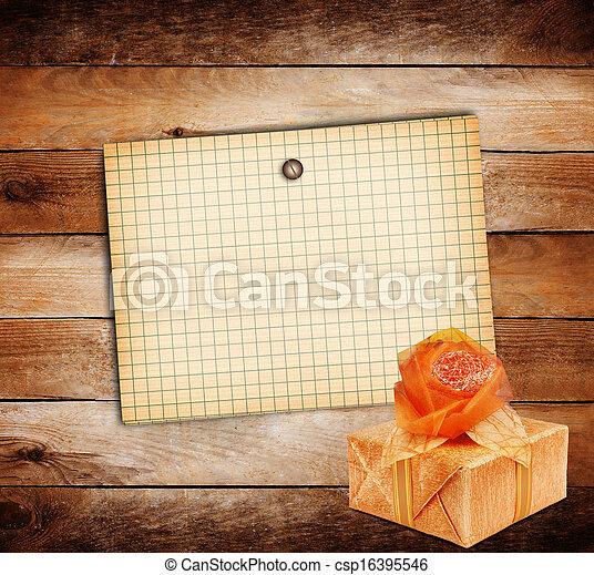 箱, シート, 贈り物, 木製である, 古い, ペーパー, 背景, グランジ - csp16395546