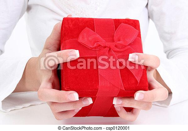 箱, ビロード, 赤, 贈り物 - csp0120001