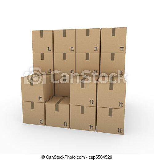 箱, ブラウン, 3d, 出荷, パッケージ - csp5564529