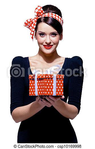 箱, ブルネット, 贈り物, 素晴らしい - csp10169998