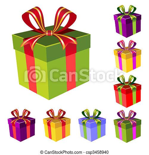箱, ベクトル, セット, 贈り物 - csp3458940