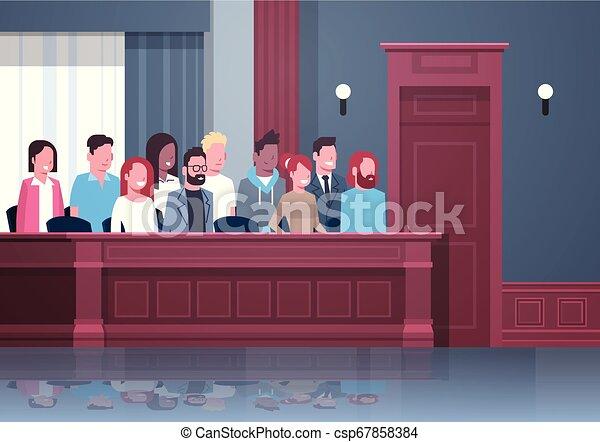 箱, 内部, モデル, 人々, レース, 陪審, 肖像画, 混合, 法廷, 法廷, 横, 裁判, セッション, 判断, 現代, プロセス - csp67858384