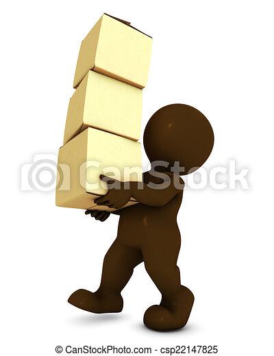 箱, 届く, 3d, 人, morph - csp22147825
