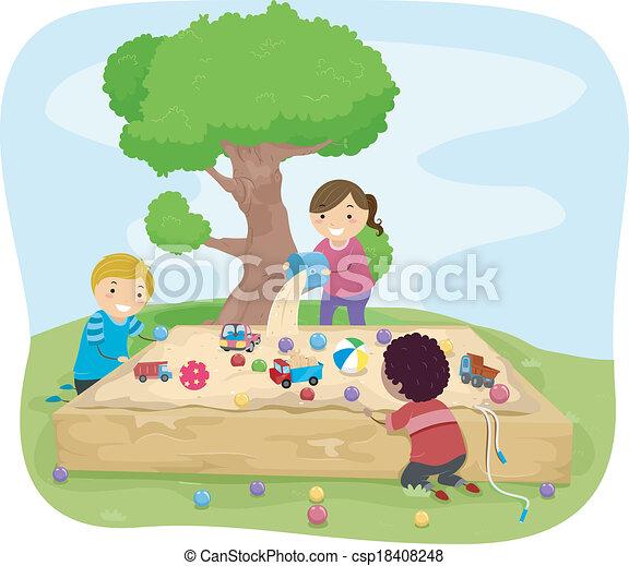 箱, 砂, 子供 - csp18408248