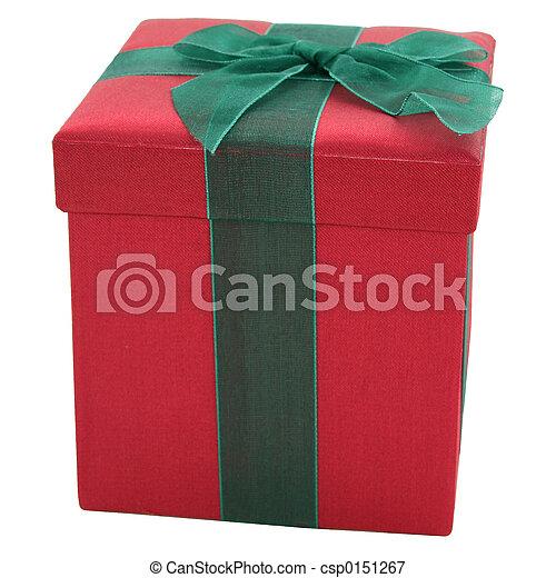 箱, 緑, 生地, 贈り物, 赤 - csp0151267