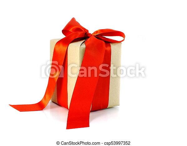 箱, 贈り物, 隔離された, 弓, リサイクルされる, ペーパー, 背景, 包まれた, 白いリボン - csp53997352