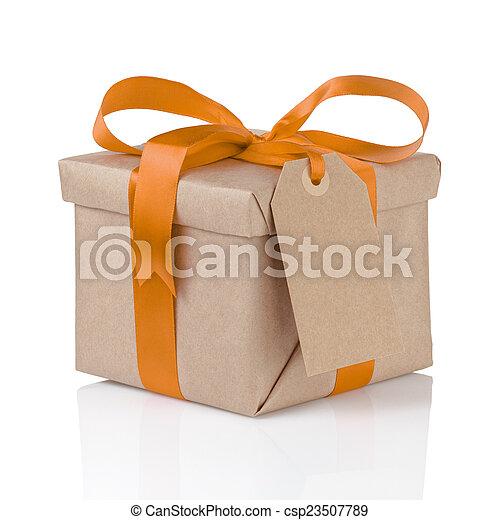 箱, 贈り物, 1(人・つ), 包まれた, ペーパー, オレンジ, 弓, クリスマス - csp23507789