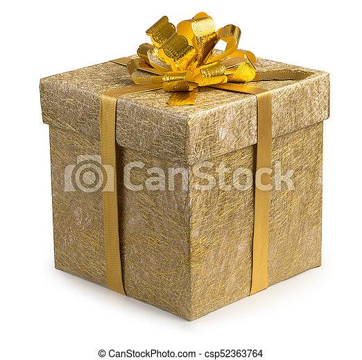箱, 金, 金, 贈り物, reticulate, 隔離された, 弓, バックグラウンド。, ペーパー, 包まれた, 白いリボン, すてきである - csp52363764