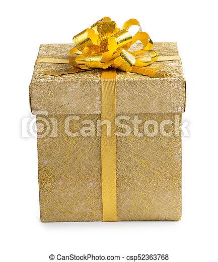 箱, 金, 金, 贈り物, reticulate, 隔離された, 弓, バックグラウンド。, ペーパー, 包まれた, 白いリボン, すてきである - csp52363768