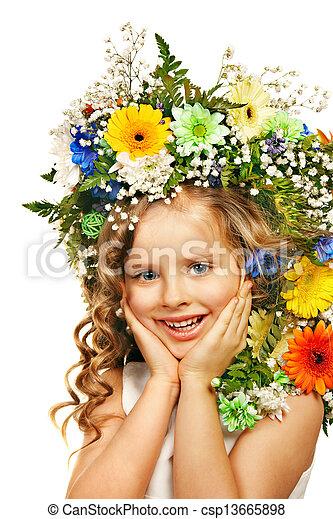 箱, flower., 贈り物, 子供 - csp13665898