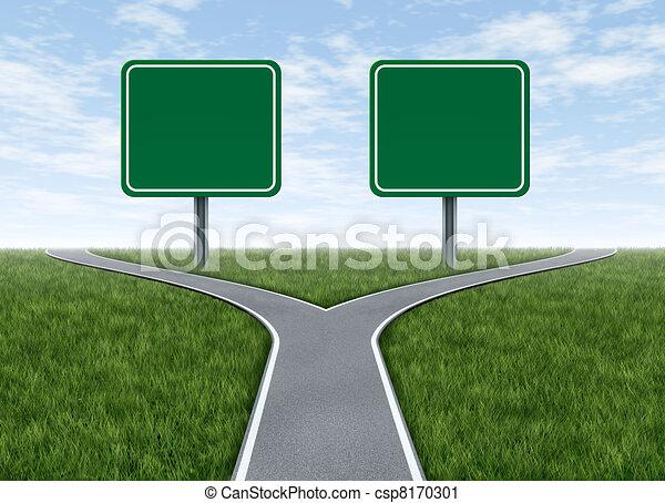 簽署, 選擇, 二, 路, 空白 - csp8170301