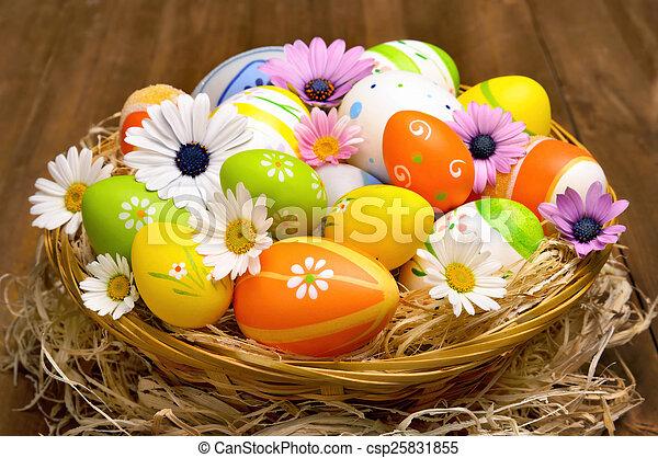 籃子, 蛋, 復活節, 鮮艷 - csp25831855