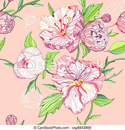 粉紅背景, seamless, 牡丹 - csp8843869