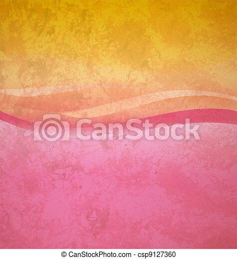 粉紅色, 廣場, grunge, 摘要, 黃色, 波浪, 背景 - csp9127360