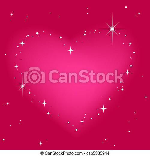 粉紅色, 心, 天空, 星 - csp5335944