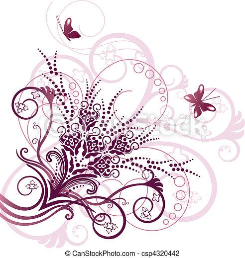 粉紅色, 植物, 角落, 設計元素 - csp4320442