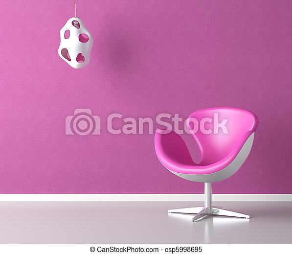 粉紅色, 牆, 模仿, 內部, 空間 - csp5998695