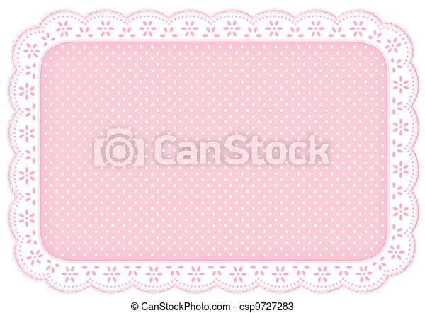 粉紅色, 蓆子, 波爾卡舞, 地方, 小墊布, 點, 帶子 - csp9727283