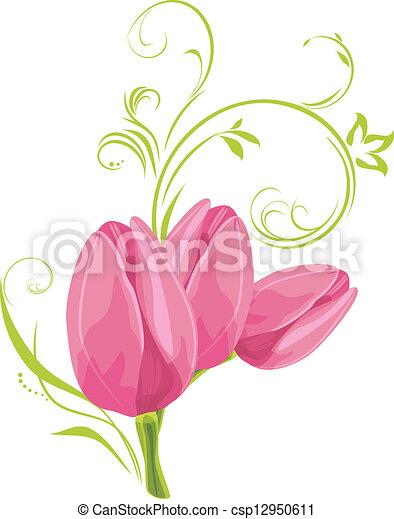 粉紅色, 鬱金香, sprig, 三 - csp12950611