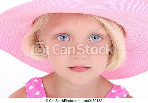 粉红色, 女孩, 帽子, 孩子 - csp0162182
