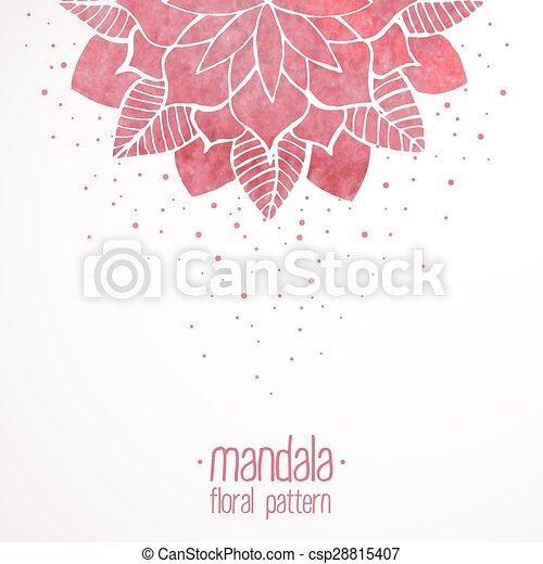 粉红色, 带子, 模式, watercolor, 背景, 植物群, 白色 - csp28815407