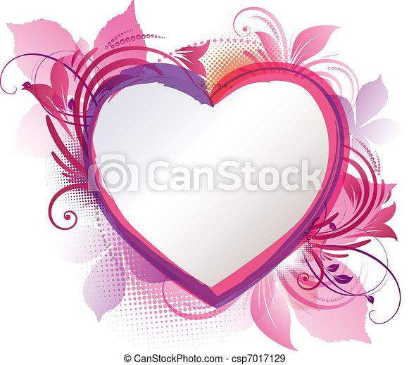 粉红色, 心, 植物群, 背景 - csp7017129