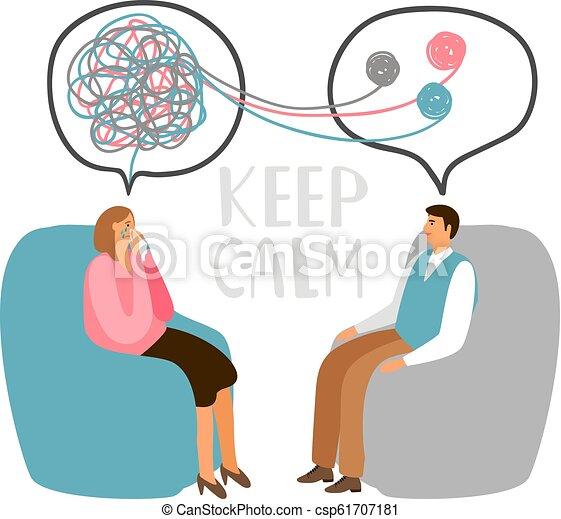 精神療法 概念 イラスト 概念 患者 医者 イラスト たくわえ
