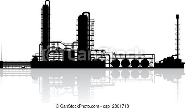 精製所, 植物, オイル, シルエット - csp12801718
