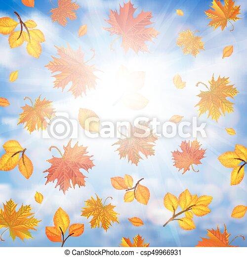 紅葉 背景 カラフルである 葉 空 曇り 秋 イラスト 背景