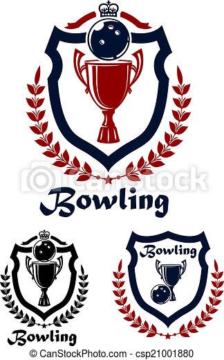 紋章, スポーツ, ボウリング, アイコン - csp21001880