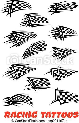 紋身, 交替變換, 旗 - csp23116714