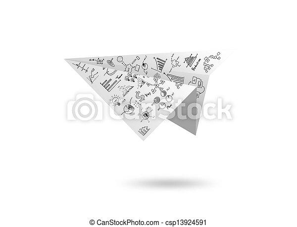 紙, 圖表, 白色, 飛機, 被隔离 - csp13924591