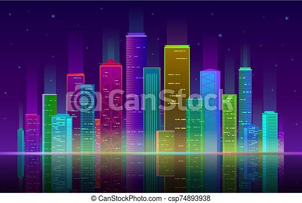 紫色の背景, 夜, ネオン, 明るい, 超高層ビル, 青, 都市の景観, パノラマ, city., ライト, 白熱, 未来派, ベクトル - csp74893938