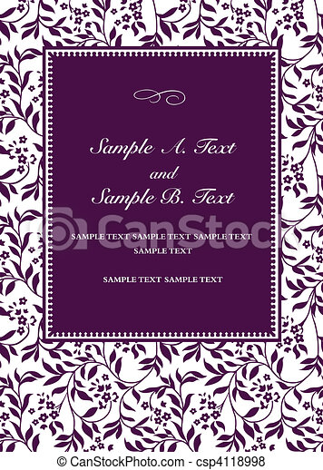 紫色, フレーム, ベクトル, 招待 - csp4118998