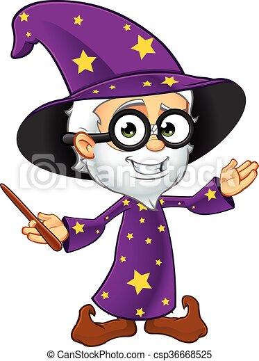 紫色, 巫術師, 老 - csp36668525
