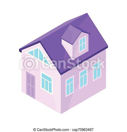 紫色, 现代, house., 描述, 背景。, 矢量, 模型, 白色 - csp70963497