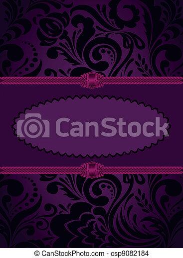 紫色, 縦, カード - csp9082184