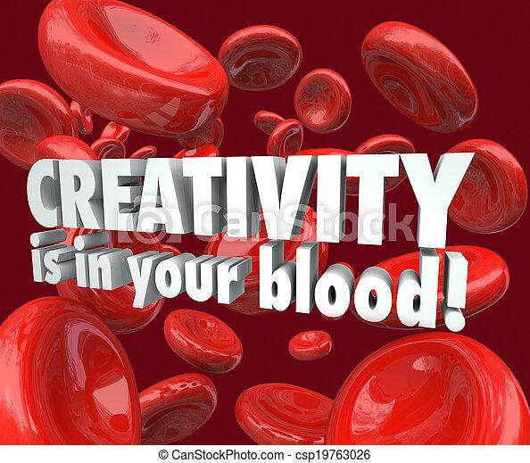 細胞, 創造性, 想像力, 血, あなたの, 赤, インスピレーシヨン - csp19763026