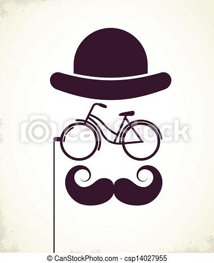 紳士, 接眼レンズ, 自転車 - csp14027955