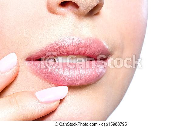 終わり, 唇, の上, 女性 - csp15988795