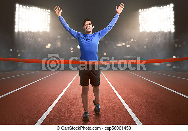 終わり, 運動選手, 動くこと, アジア人, 線, 人, 幸せ - csp56061450
