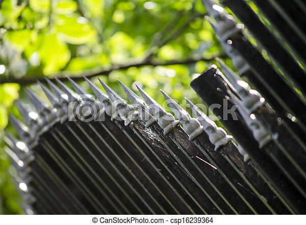 終わり, 金属, の上, フェンス - csp16239364