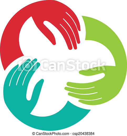 組合, ロゴ, イメージ, 3, 手 - csp20438384