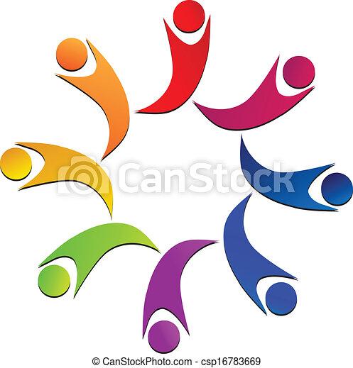 組合, ロゴ, チームワーク, 人々 - csp16783669