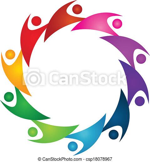 組合, ロゴ, チームワーク, 人々 - csp18078967
