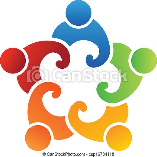 組合, ロゴ, チーム, 5人の人々 - csp16784118