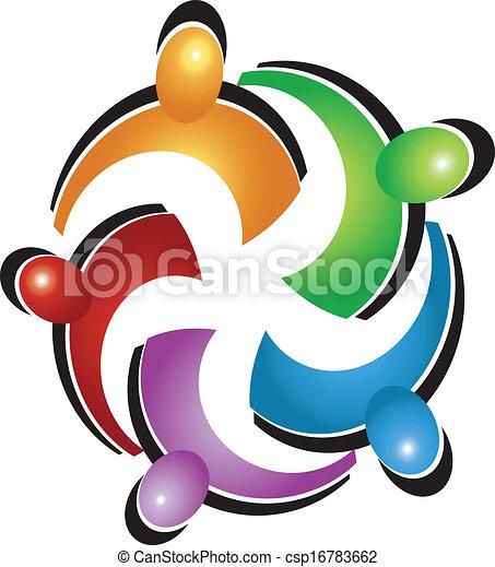 組合, ロゴ, ベクトル, チームワーク, 人々 - csp16783662