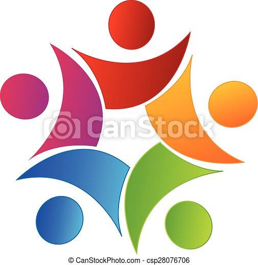 組合, ロゴ, swooshes, チームワーク, 人々 - csp28076706