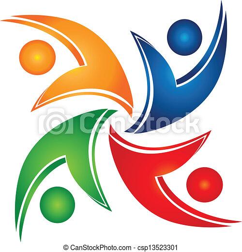 組合, swooshes, チームワーク, ロゴ - csp13523301