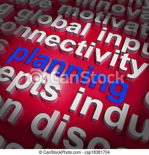 組織しなさい, 単語, 目的, 計画, 計画, 雲, ショー - csp18381704
